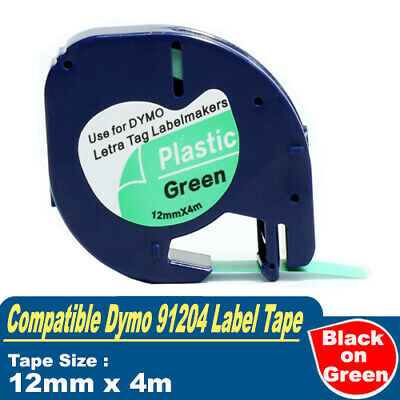 AU11.80 • Buy 1x Compatible Dymo 91204 LetraTag Plastic Tape Black On Green 12mmX4m SD91204