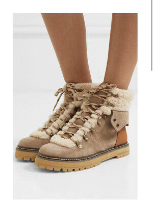 See By Chloe Shearling Suede Leather Hiker Ankle Boots 38 Uk 5 Taupe Tan Hiking • 99£