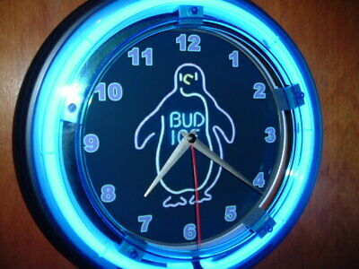$ CDN104.55 • Buy Budweiser Bud Ice Penguin Beer Bar Advertising Man Cave Neon Clock Sign