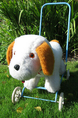 Vintage Dog On Wheels Push Along Baby Walker Ride On Blue Frame White & Brown • 25£