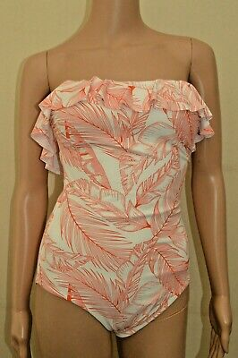 New Next Tall Leaf Print Cream & Pale Red Tummy Control Swimsuit Sz UK 10 • 18.99£