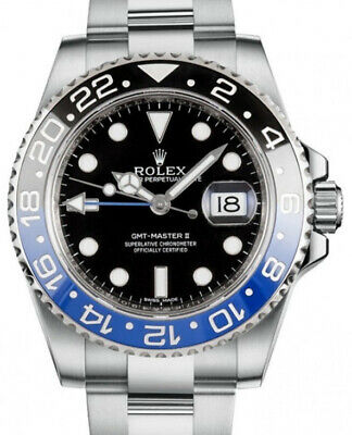 $ CDN21318.77 • Buy Rolex GMT-Master II Black/Blue Ceramic Steel Watch & Box BATMAN 116710