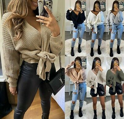 Women Ladies Chunky Knitted Tie Up Wrap Over Plunge Cardigan Jumper Pullover Top • 16.95£