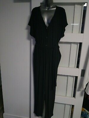 New Wallis Size 20 Silver Button Front Top Jumpsuit Elasticated Waist With Tie  • 11£