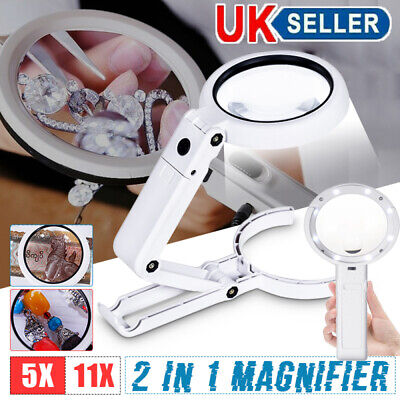 5 / 11X Magnifying Glass With Light 8 LED LAMP Magnifier Foldable Stand Table UK • 7.39£