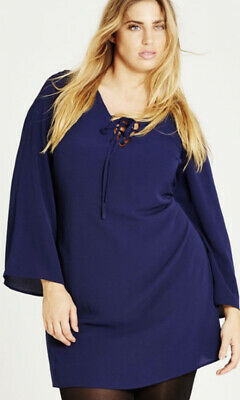 AU10 • Buy EUC Women's Plus Sz L (20) CITY CHIC French Navy Bell Sleeve Tie Tunic Worn Once