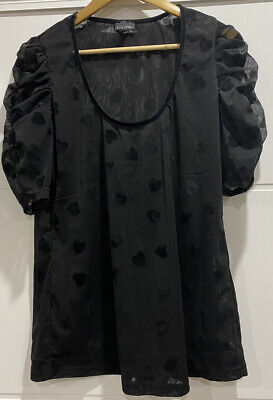 AU10.50 • Buy EUC Women's Plus Sz S (16) CITY CHIC Heart Print Ruched Sleeve Top Worn Once
