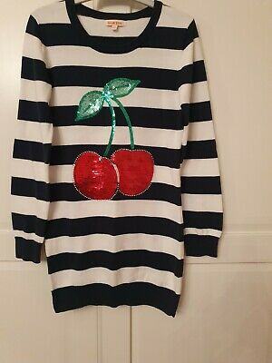 Lovely Striped Jumper Dress With Sequin Cherry 🍒 Design - Age 9-10 - Blue Zoo • 1.99£