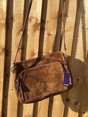 MEXX Women Bodycross Shoulder Bag Rye Bronze Brown Suede Leather BNWT Casual • 40£