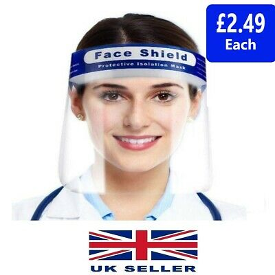 2 X Face Shield Full Face Visor Protection Mask Ppe Shield Transparent Clear  • 3.99£