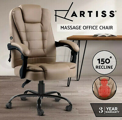 AU239 • Buy Artiss Massage Office Chair PU Leather Recliner Computer Gaming Chair Espresso