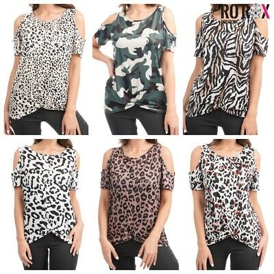 £6.99 • Buy Ro Rox Leopard Printed Cut Out Cold Shoulder Loose Punk Top Tee T-shirt XS-4XL
