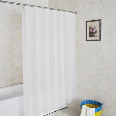 UK 180x200cm Waterproof Shower Curtain With Hooks Rings / Extendable Curtain Rod • 11.87£
