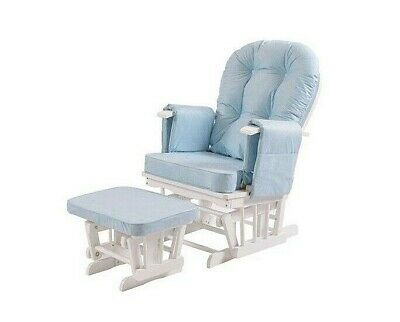 Serenity Blue Glider Nursing Maternity Gliding Rocking Chair With Footstool Seat • 197.99£
