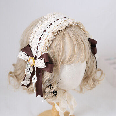 Lolita Sweet Brown Hair Hoop Lace Hairpin Side Clip Bow Headdress Headband Ting1 • 11.13£