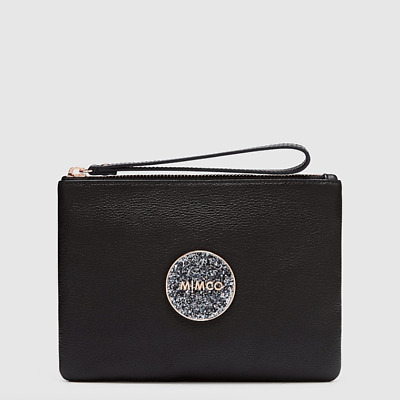 AU50.95 • Buy Mimco BLISS MEDIUM POUCH BLACK ROSE GOLD LEATHER Authentic New With Tag RRP99.95