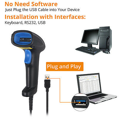 Handheld Barcode Scanner UPC Laser 1D CCD Wired Continuous Bar Code Reader USB • 15.99£