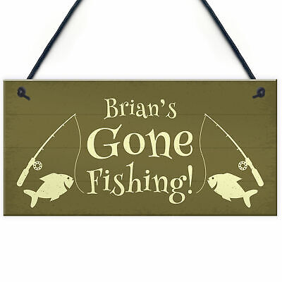 £4.99 • Buy Shabby Chic Gone Fishing Sign PERSONALISED Fishing Gift For Dad Uncle Grandad