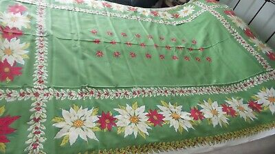 $ CDN24.25 • Buy Vintage Cotton CHRISTMAS TABLECLOTH, Fallini Cohn, Poinsettias Olive Green 80x60