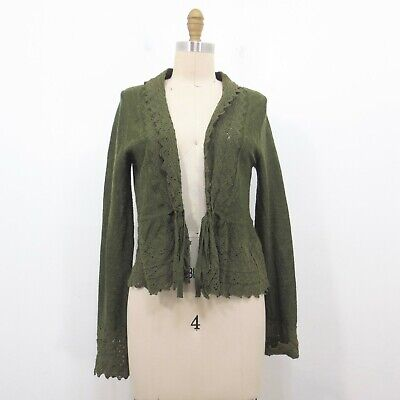 $ CDN14.26 • Buy M / 8 - Guinevere Anthropologie Green Lace Knit Trim Cardigan Sweater 1230KZ