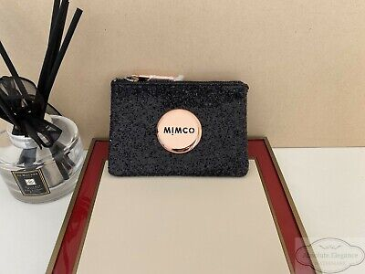 AU32.75 • Buy Mimco Fly Sparks Black Glitter Small Pouch Rose Gold Button Authentic BNWT RRP50