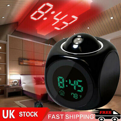 LCD Voice Talking LED Digital Projection Alarm Clock Time Temperature Projector • 7.95£