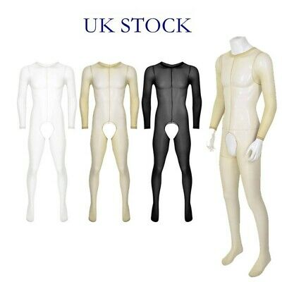 UK Mens Body Stocking Bodysuit See Through Jumpsuit Pantyhose Sissy Lingeries • 5.99£