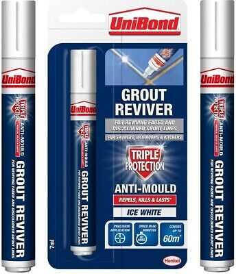 Unibond Anti-Mould White Grout Pen Reviver Repels Kilss Lasts 7ml Ice White Tile • 4.99£