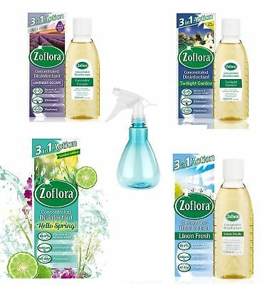 4 PACK Zoflora Concentrated Disinfectant 120ML WITH SPRAY BOTTLE • 10.99£