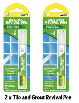 2 X Tile Grout Whitening Pen Refresher White Kitchen Shower Bathroom Mould • 2.95£