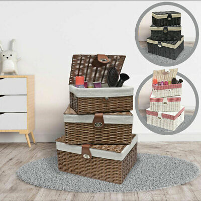 Set Of 3 Lined Wicker Basket Hamper With Lid Woven Xmas Storage Gift Box Resin • 17.99£