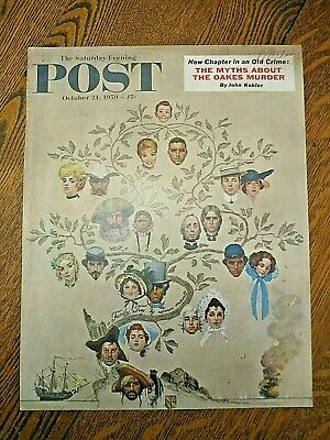 $ CDN17.42 • Buy Orig 1959 Saturday Evening Post Cover-Norman Rockwell-family Tree-pirate