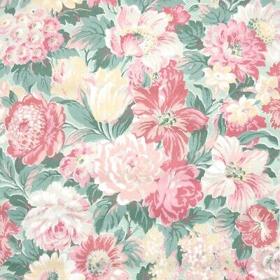 £28.98 • Buy 1950s Floral Vintage Wallpaper Dense Pink Green And Yellow Flowers