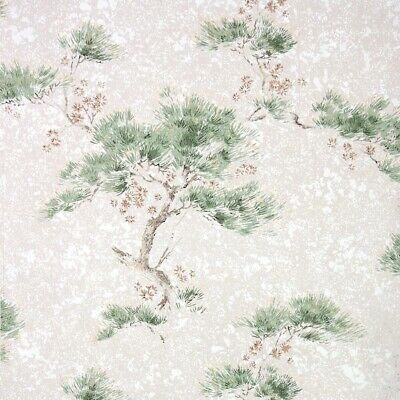 £39.85 • Buy 1950s Botanical Vintage Wallpaper Green Pine Branches On Gray