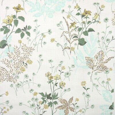 £28.98 • Buy 1950s Floral Vintage Wallpaper Midcentury Botanical And Flowers Yellow Aqua Gold