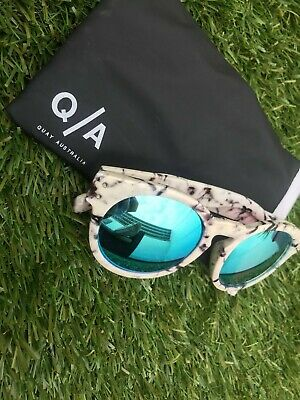 AU10 • Buy Quay Australia Tort/White/Grey/Marble Sunglasses With Mirror Holographic Lens