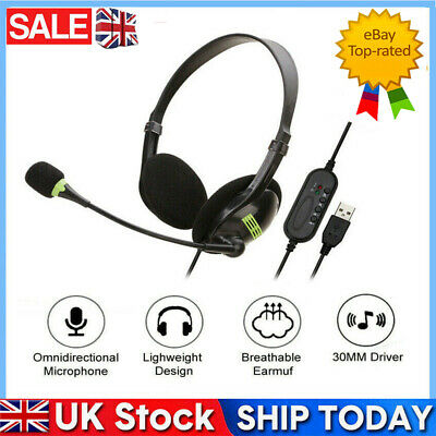 USB Headphones With Microphone Noise Cancelling Headset For Skype Laptop NEW • 7.59£