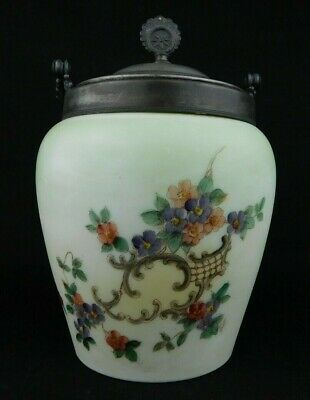 Hand-painted Enameled Victorian Glass Biscuit Jar With Silver Lid And Handle • 60.78£