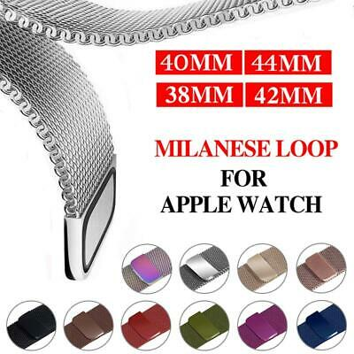 $ CDN8.03 • Buy For Apple Watch Series 5 4 3 2 1 Milanese Mesh Loop Band IWatch Strap Full Case