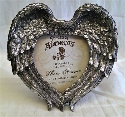 Alchemy Gothic Winged Heart Design Photo Picture Frame - Antique Silver Effect • 19.99£