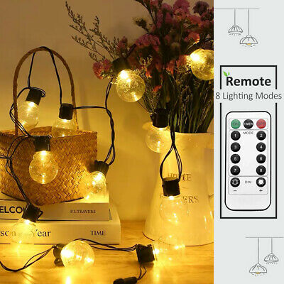 10/20LED Festoon Globe Bulb Indoor Outdoor String Christmas Fairy Lights +Remote • 11.88£