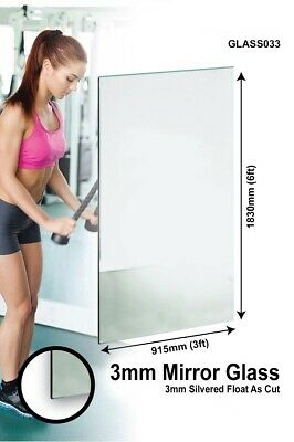 £85 • Buy Large Mirror Glass Gym Or Dance Studio 3mm Thick Value 6ft X 3ft 183cm X 91cm