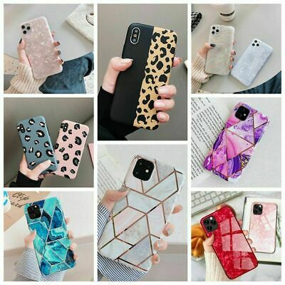 Glitter Marble Case For Iphone 12 11 Pro Max 7 8Plus XR Leopard Print Thin Cover • 3.89£