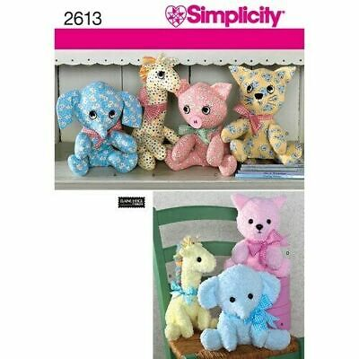 SIMPLICITY Sewing Patterns~2613 Childrens Childs Crafts Stuffed Animals Pig Cat • 8.85£