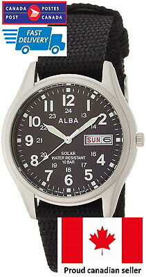$ CDN87.13 • Buy *CANADIAN SELLER* Seiko ALBA AEFD557 SOLAR Field Watch 100M WR KAN-JI Calendar