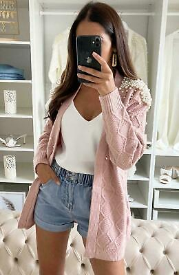 Women Ladies Chunky Cable Knitted Pearl Winter Short Cardigan Jumper Sweater Top • 27.99£