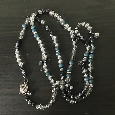 AU9.99 • Buy Mimco Clear Black & Blue Beaded Long Necklace TBar Design #404