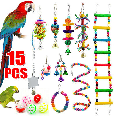 £9.99 • Buy 15 Pack Parrot Set Toys Metal Rope Small Ladder Stand Budgie Cockatiel Cage Bird