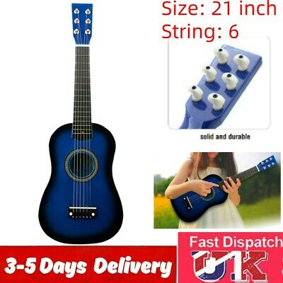 21  Kid Wooden Acoustic Guitar Children Toy Gift W/Pick & String 6 Strings • 12.99£