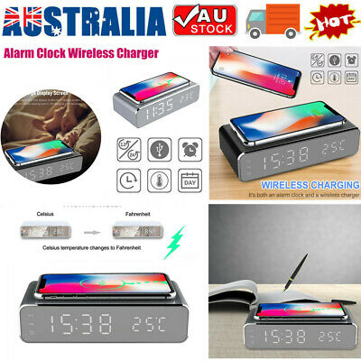 AU22.26 • Buy LED Wireless Phone Charger Electric Alarm Clock Qi Wireless Charging Pad Station